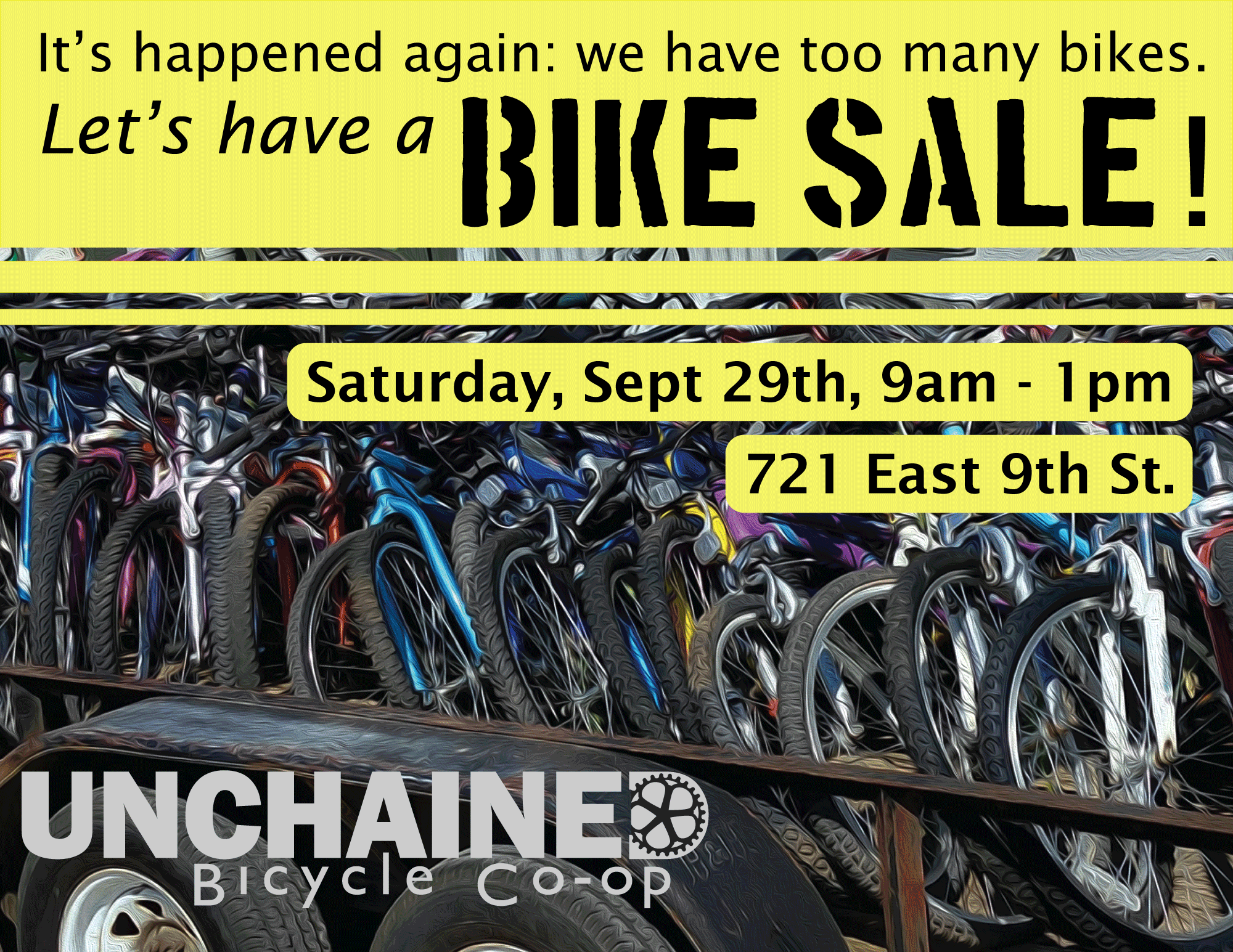 2018 Bike Sale - Saturday, September 29th, 9 a.m - 1 p.m.